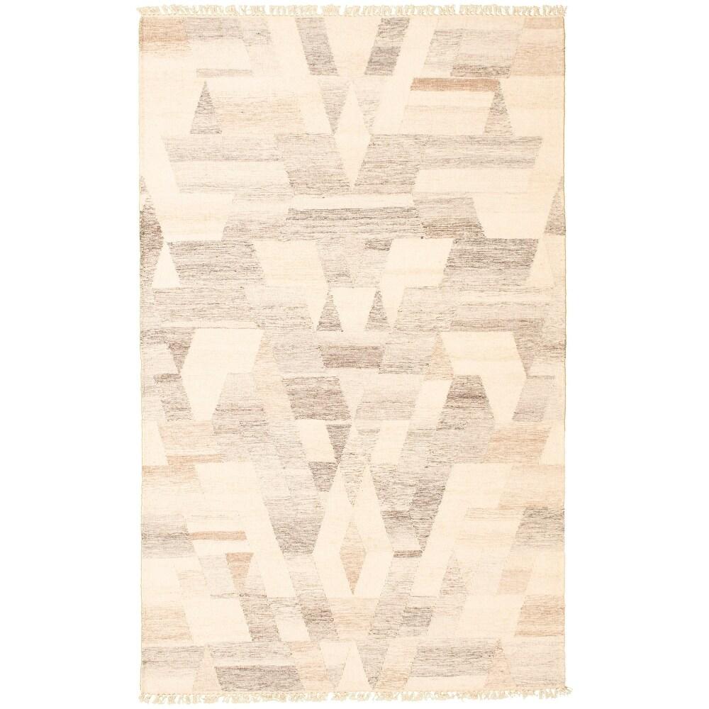 ECARPETGALLERY  Flat-weave Old Style Ivory Wool Kilim - 5'1 x 7'11 (5'1 x 7'11 - Ivory)