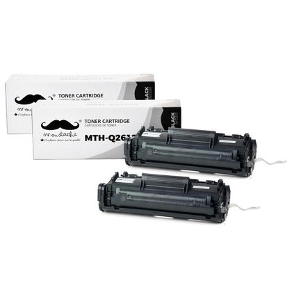 Compatible HP 12A Q2612A Black Toner Cartridge from Moustache, 2 pack
