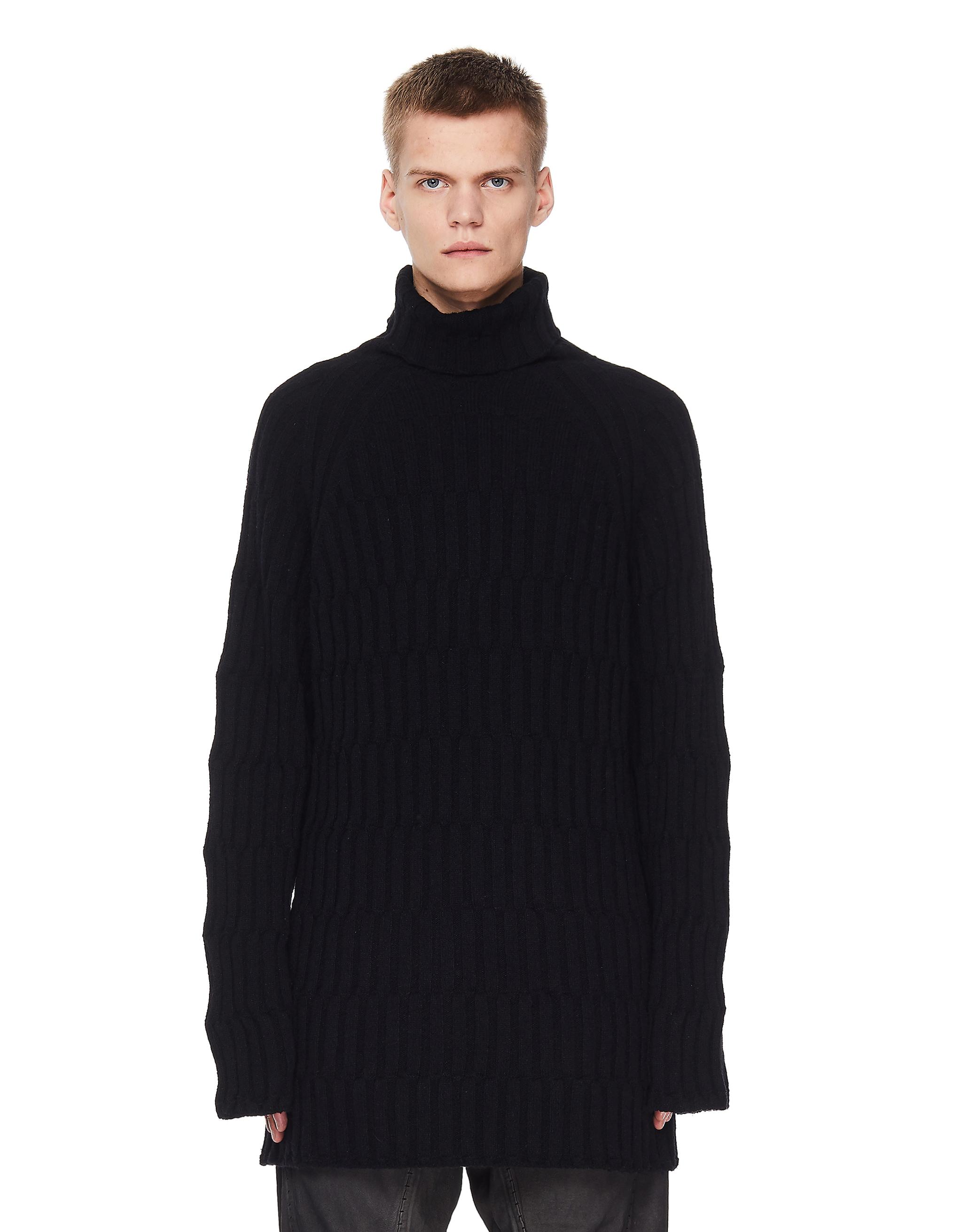 Yohji Yamamoto Black Wool Long Sweater