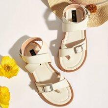 Toddler Girls Toe Post Buckle Decor Sandals