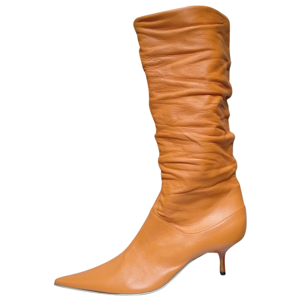 Non Signé / Unsigned \N Orange Leather Boots for Women 39 EU