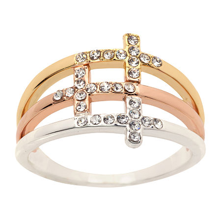 Sparkle Allure Crystal 14K Gold Over Brass Cross Cocktail Ring, 8 , No Color Family