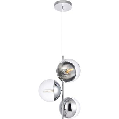 LD6125C Eclipse 3 Light 18 inch Chrome Pendant Ceiling Light With Clear White