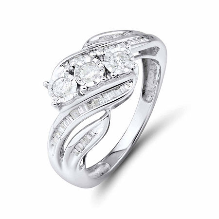 Love Lives Forever 1/2 CT. T.W. Round White Genuine Diamond 10K Gold 3-Stone Ring, 8 , No Color Family