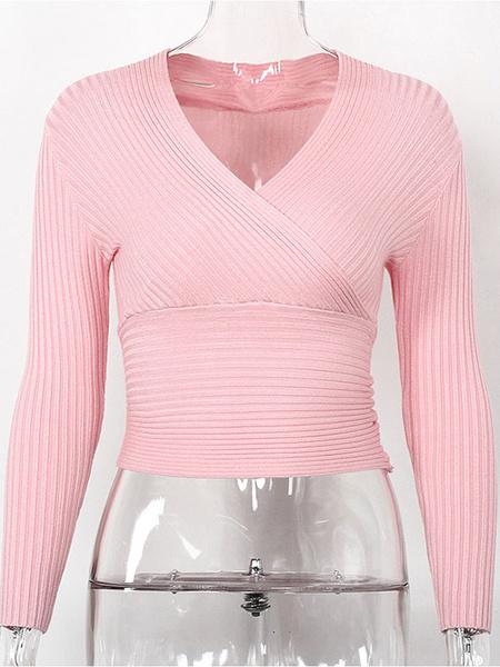Milanoo Pullovers For Women Fashion V Neck
