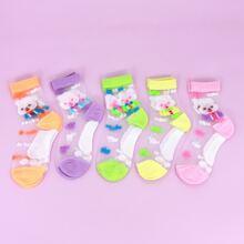 5pairs Girls Rabbit Pattern Mesh Socks