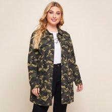 Mantel mit einreihiger Knopfleiste, Taschen Klappen und Camo Muster