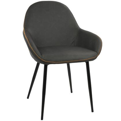 DC-CLB BK+GY2 Clubhouse Contemporary Dining Chair with Black Frame and Grey Vintage PU Leather - Set of
