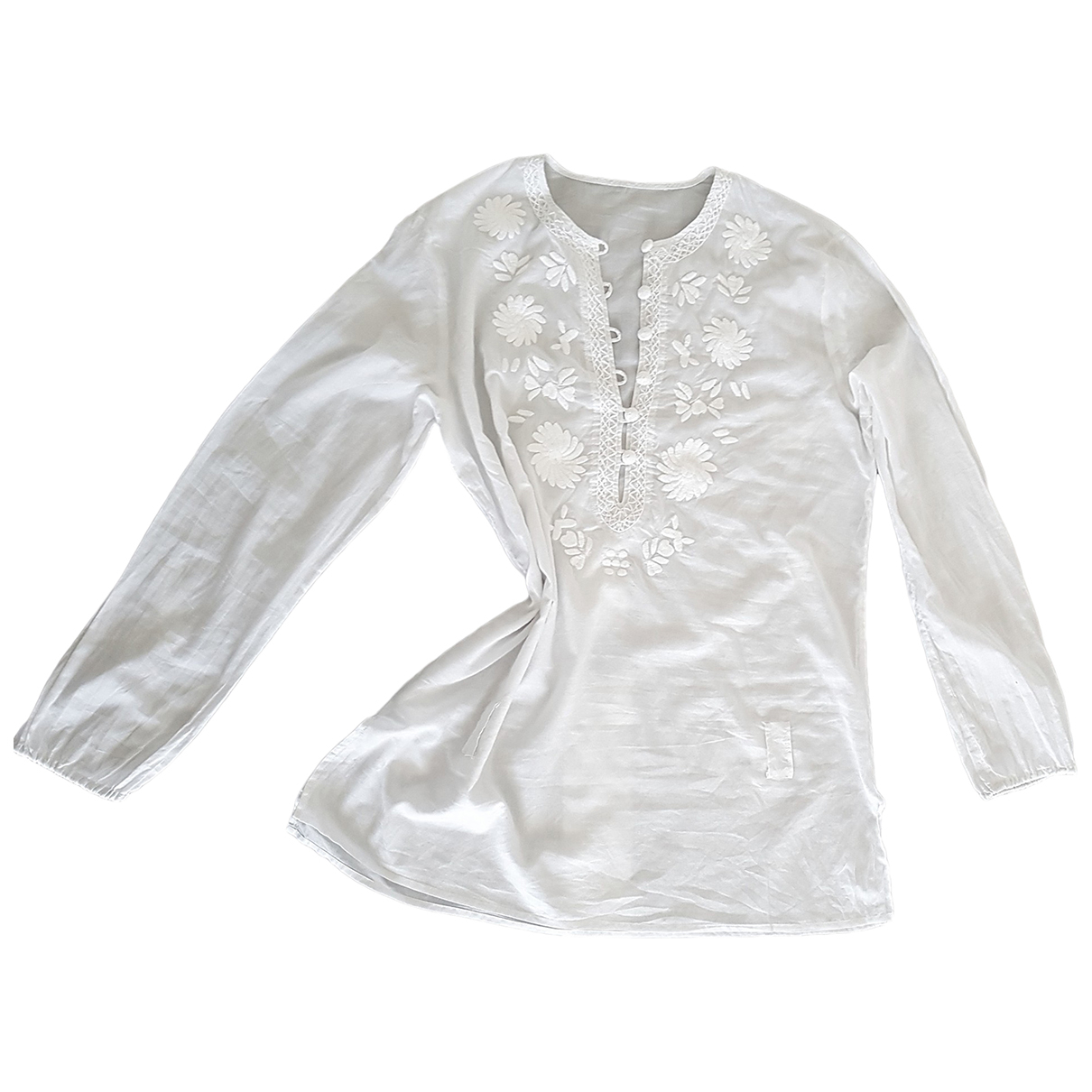 Non Signé / Unsigned Hippie Chic White Cotton  top for Women L International