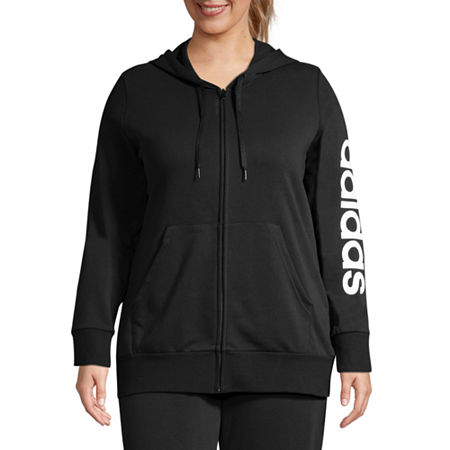 adidas Womens Hooded Neck Long Sleeve Hoodie Plus, 3x , Black