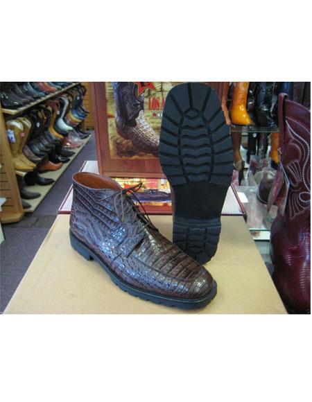 Los Altos Men's Genuine All Crocodile Caiman Brown Lace Up Ankle Boot