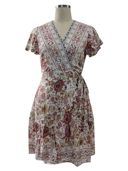 Milanoo Floral Summer Dresses V Neck Short Sleeve Shaping Mini Dress