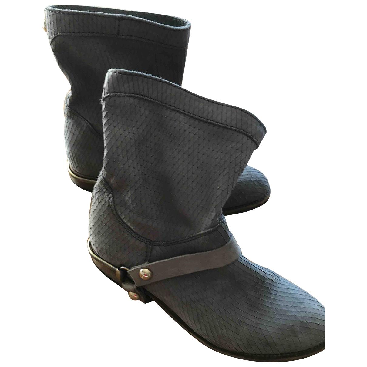 Patrizia Pepe - Boots   pour femme en cuir - gris