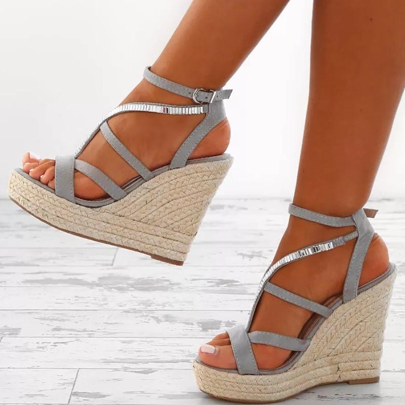 Ericdress Rhinestone Woven Platform Strappy Wedge Heel Espadrille Sandals
