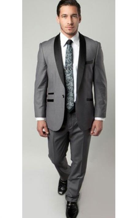 1 Button Mens Two Toned Trimmed Tuxedo Grey/Black Slim Fitted Suit