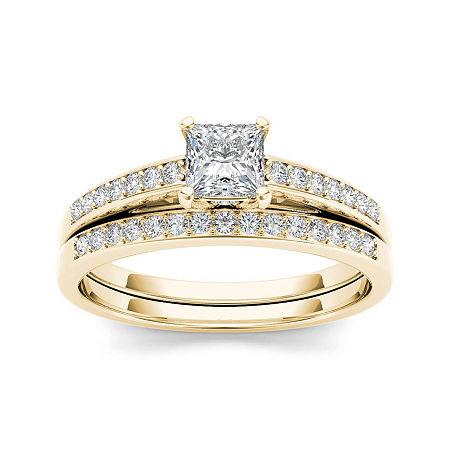 5/8 CT. T.W. Diamond 14K Yellow Gold Bridal Ring Set, 7 , No Color Family