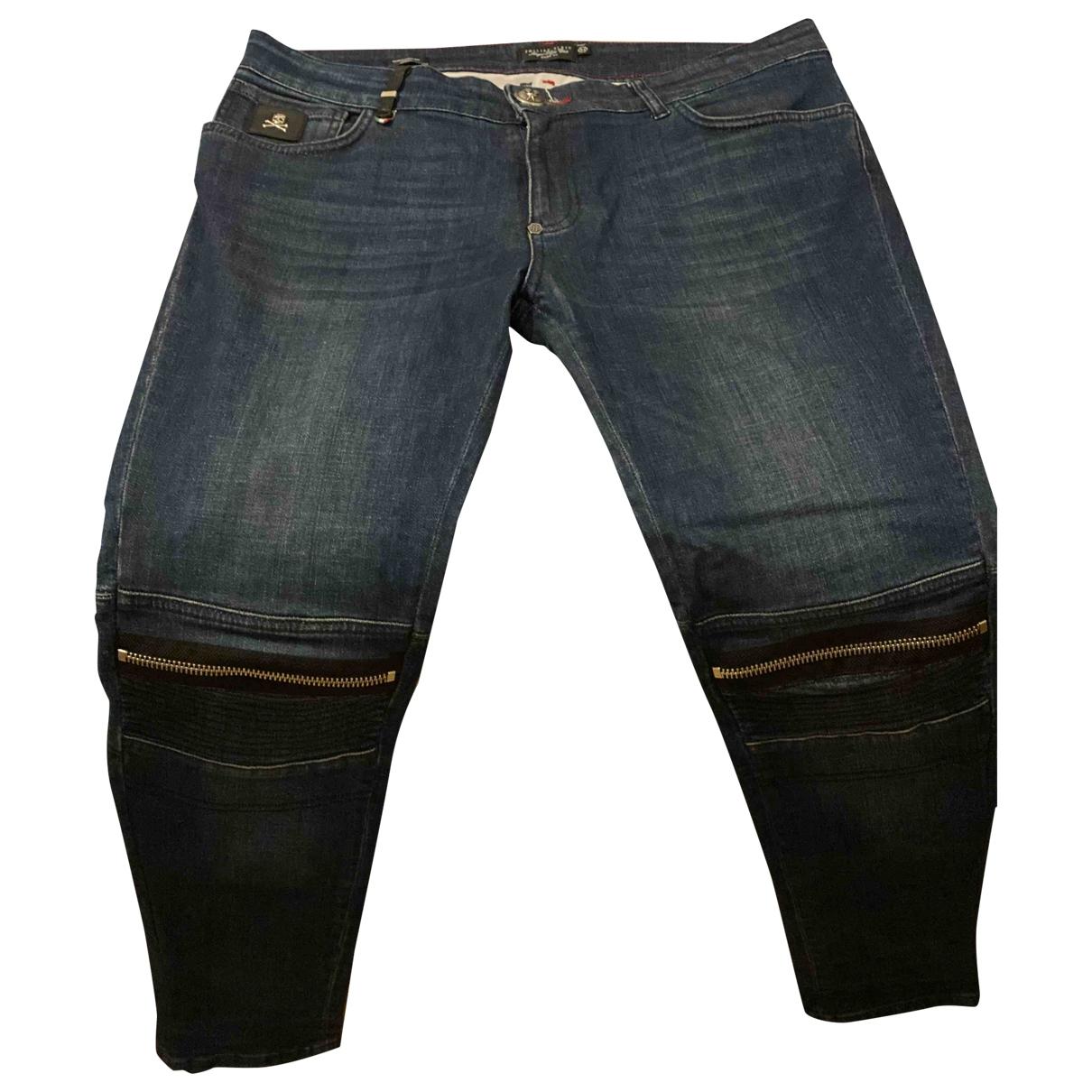 Philipp Plein \N Navy Cotton - elasthane Jeans for Men 34 US