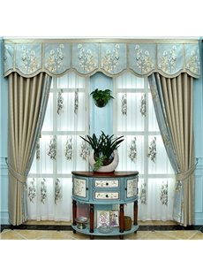 Light Luxury Romantic Soft Embroidered Custom Sheer Curtains for Living Room and Sheer