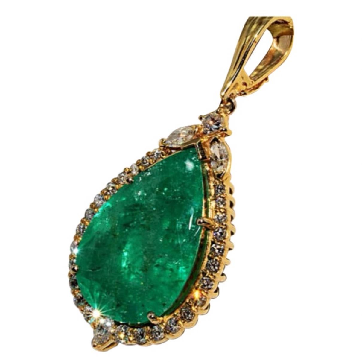 - Pendentif Emeraude pour femme en or jaune - vert