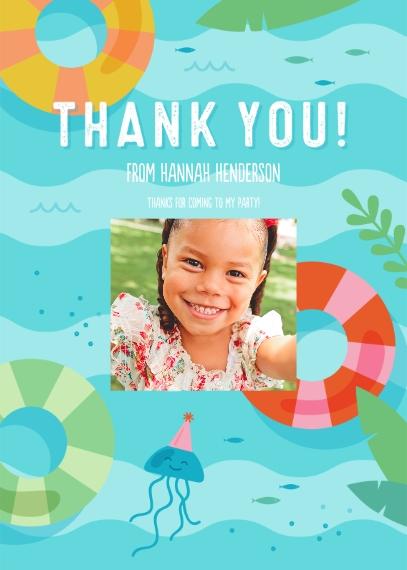 Kids Birthday Thank You 5x7 Folded Cards, Standard Cardstock 85lb, Card & Stationery -Splish Splash Party Thank You