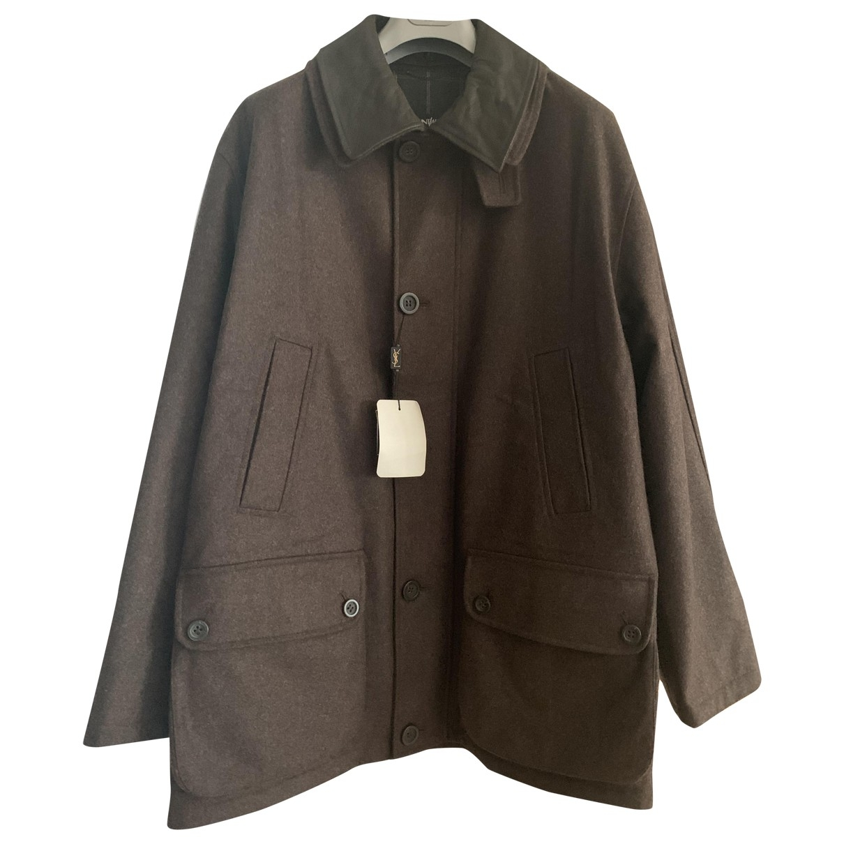 Yves Saint Laurent - Manteau   pour homme en laine - marron