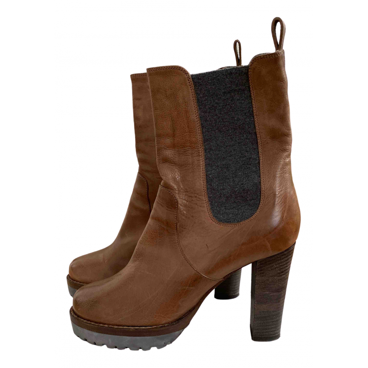 Brunello Cucinelli \N Brown Leather Ankle boots for Women 37 IT