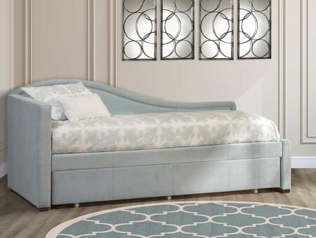 Olivia Collection 1852DBT Twin Size Daybed with Trundle Included  Fabric Upholstery  Antique Chaise Lounge Design and Wood Construction in Aqua