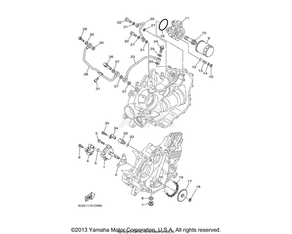 Yamaha OEM 5KM-13171-00-00 PIPE, DELIVERY 2