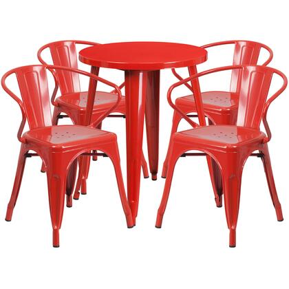 CH51080TH Collection CH-51080TH-4-18ARM-RED-GG 5 Piece Indoor-Outdoor Table Set with 4 Cafe Chairs  Round Table Top  Protective Rubber Floor Glides