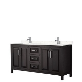 Daria 72 Inch Double Vanity, Cultured Marble Top (Dark Espresso, Light-Vein Carrara Cultured Marble)