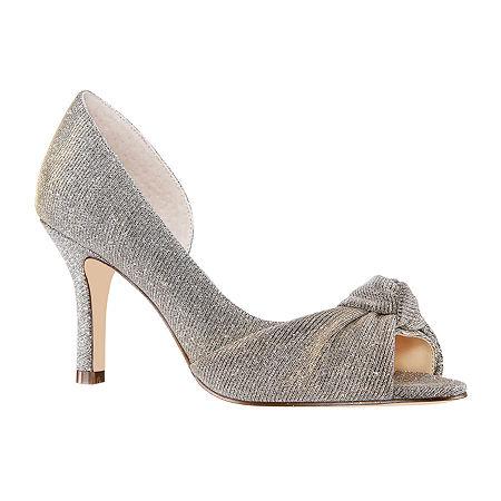 I. Miller Womens Ferna Peep Toe Cone Heel Pumps, 8 Medium, Gray