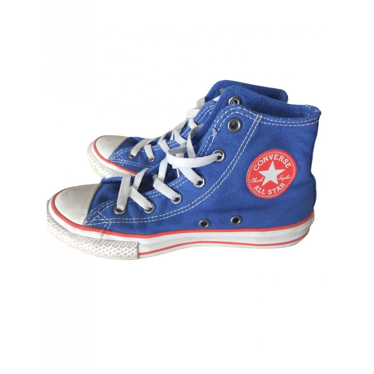 Converse - A lacets   pour enfant en toile - bleu
