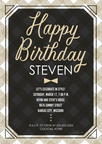 Birthday Party Invites Flat Glossy Photo Paper Cards with Envelopes, 5x7, Card & Stationery -Happy Birthday Bowtie