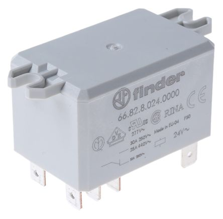 Finder , 24V ac Coil Non-Latching Relay DPDT, 30A Switching Current Flange Mount, 2 Pole