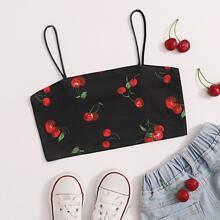 Girls Cherry Print Crop Cami Top