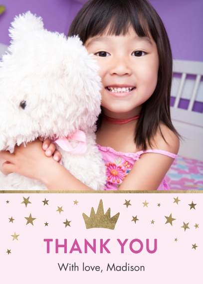 Kids Thank You Cards 5x7 Folded Cards, Standard Cardstock 85lb, Card & Stationery -Thank You Princess Tiny Stars