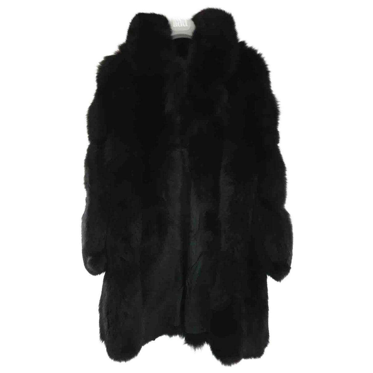 - Manteau Oversize pour femme en renard - noir