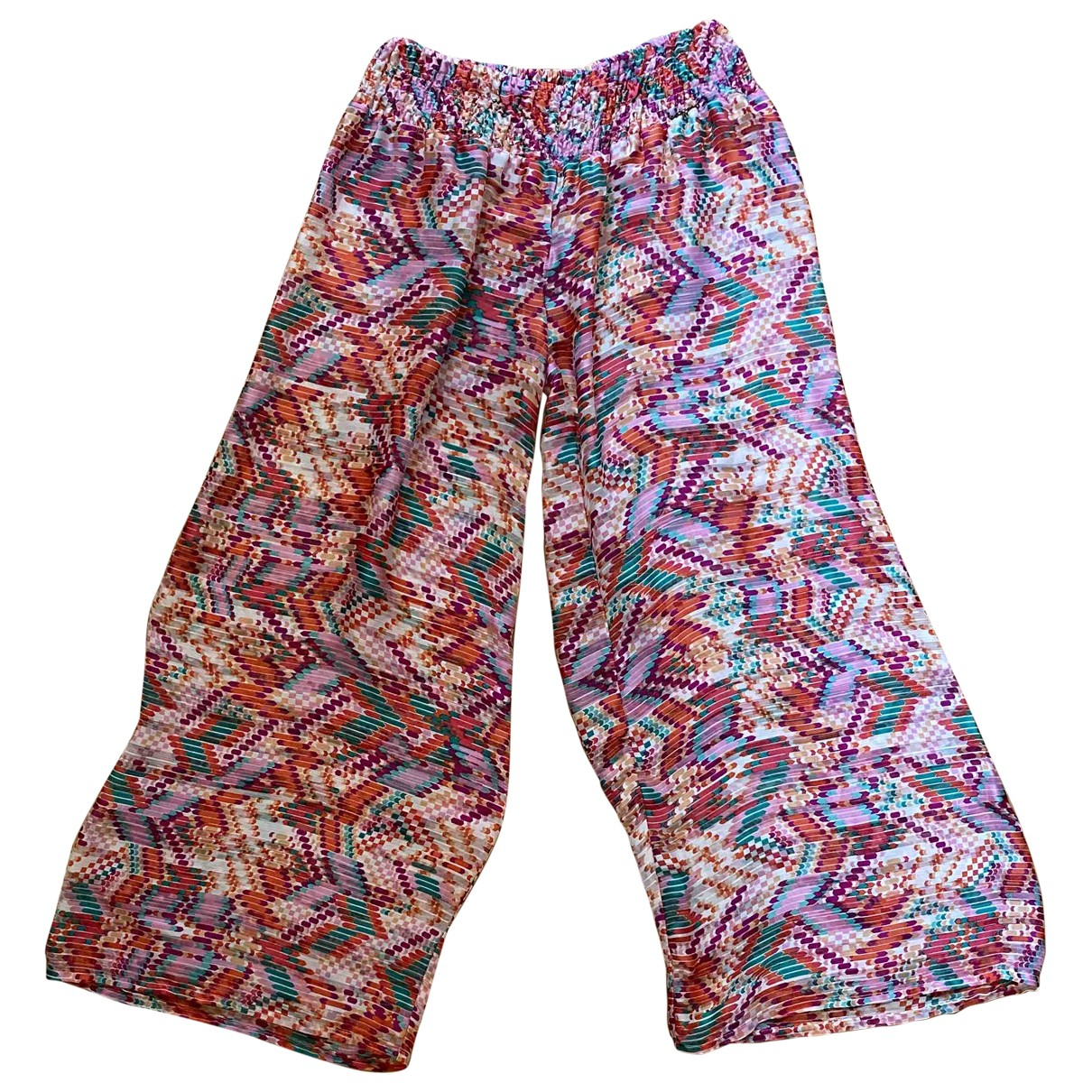 Non Signé / Unsigned \N Multicolour Silk Trousers for Women M International