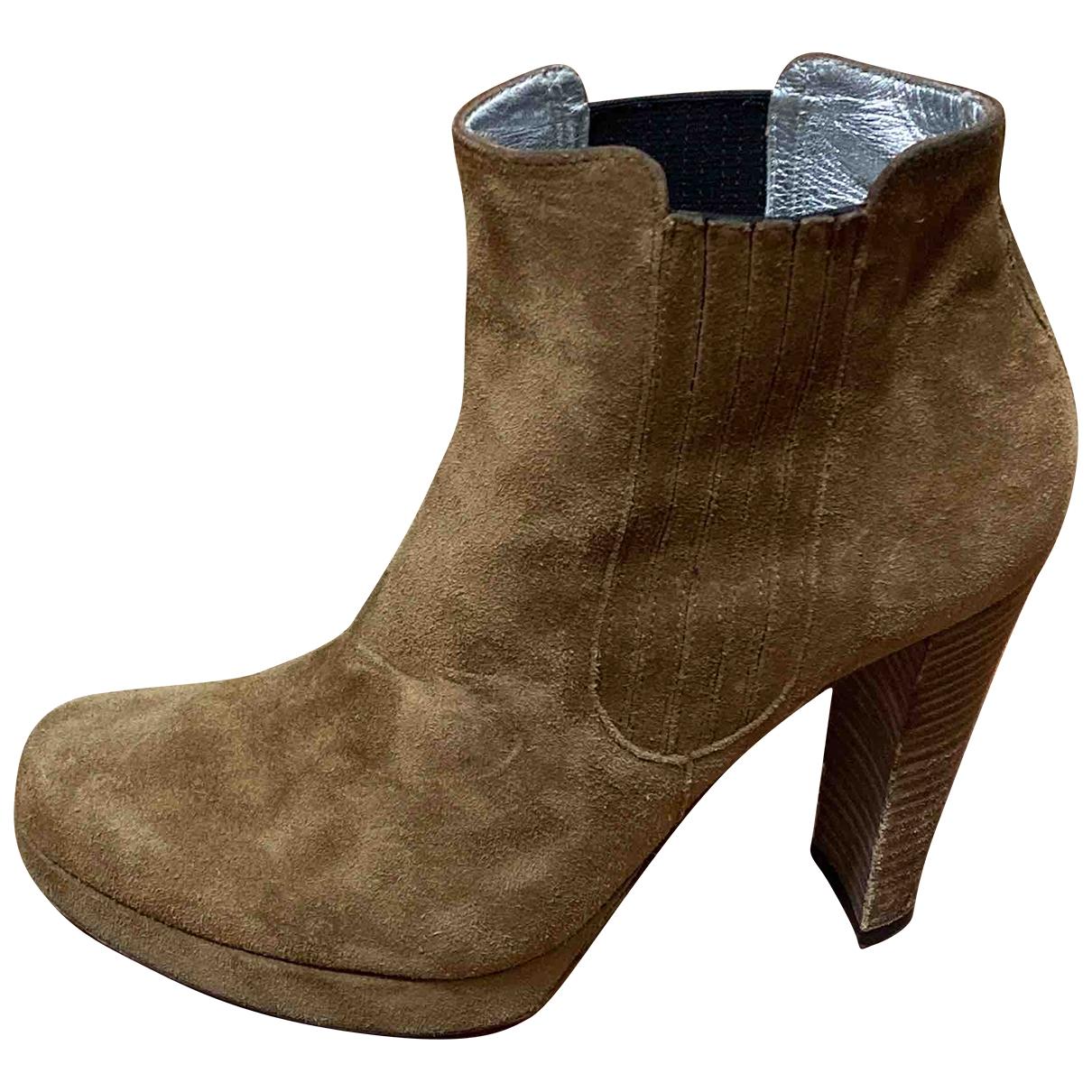 Free Lance - Boots   pour femme en suede - camel