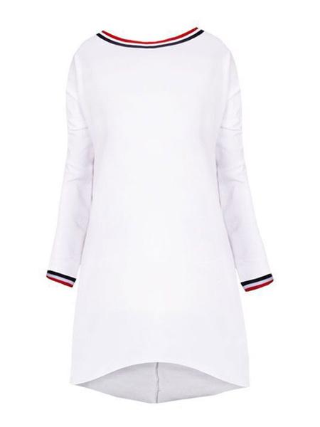 Milanoo Women Shift Dress Round Neck Long Sleeves Dark Navy Casual Dress