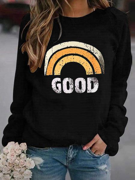 Milanoo Women Crew Neck Hoodie Grey Long Sleeve Printed Sweatshirts