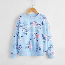 Girls Letter Graphic Floral Pullover