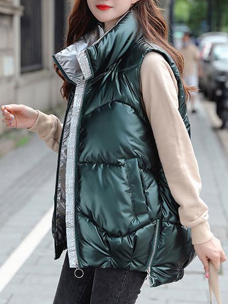 Milanoo Escudo mujeres chaleco azul real del collar del soporte de mangas Puffer Coats