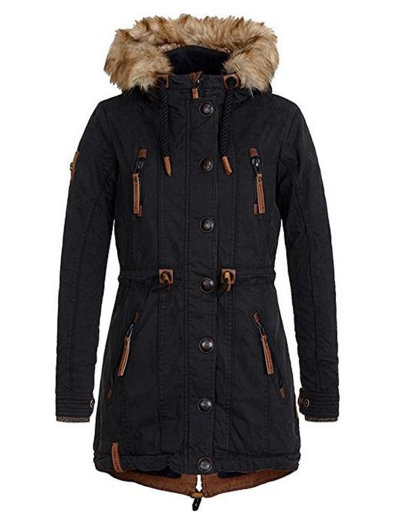 Ericdress Slim Faux Fur Hooded Zipper Mid-Length Jacket