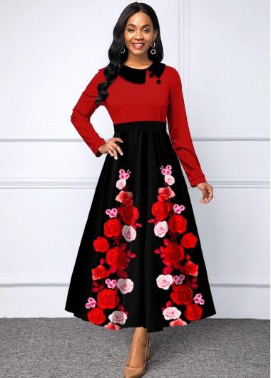 Wedding Guest Dress High Waist Floral Print Long Sleeve Dress - L
