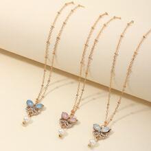 3 Stuecke Kleinkind Maedchen Halskette mit Schmetterling Anhaenger
