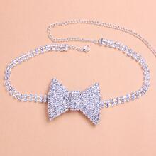 Collar con lazo con diamante de imitacion