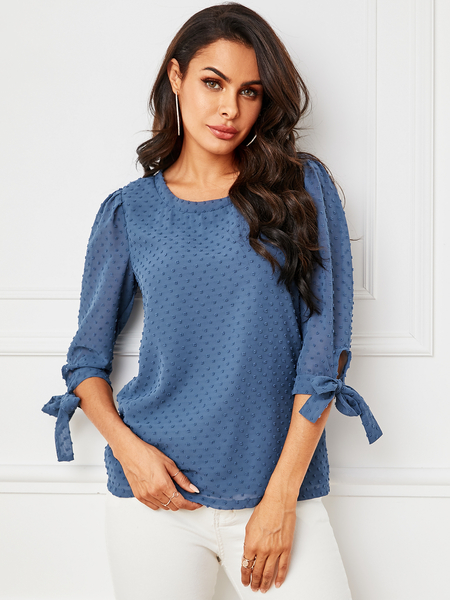 YOINS Blue Knotted Design Chiffon Round Neck Half Sleeves Blouse