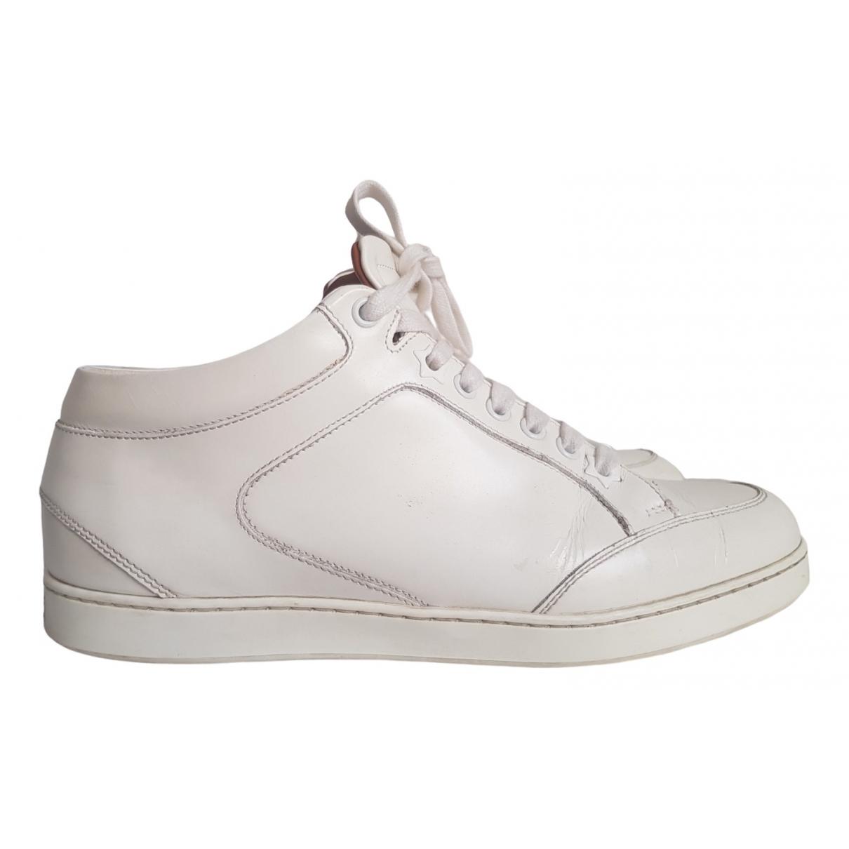 Jimmy Choo - Baskets   pour femme en cuir - blanc