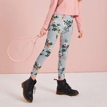 Maedchen Leggings mit elastischer Taille und Blumen Muster